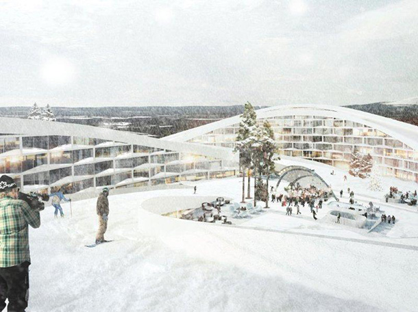 Big unveils a ski resort in lapland visuall for Ski designhotel