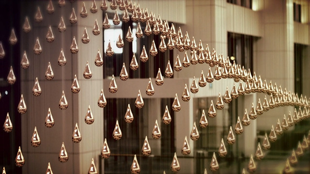 'Kinetic Rain' installation by ART+COM