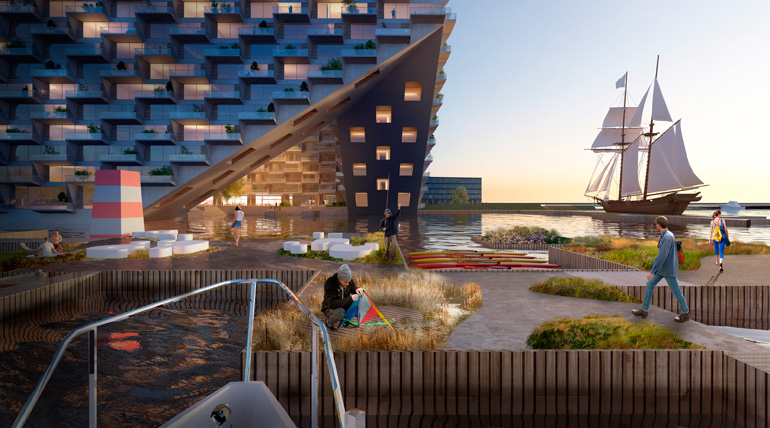 Sluishuis, Iconic Mixed-Use Building in Amsterdam by BIG & BARCODE Architects