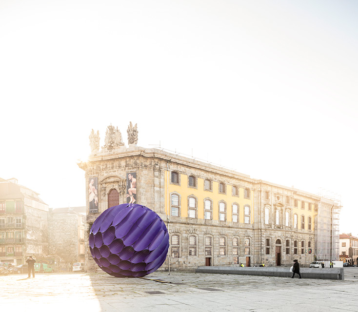 'Eclipse' Spherical Installation in Porto's Historic Center by FAHR 021.3