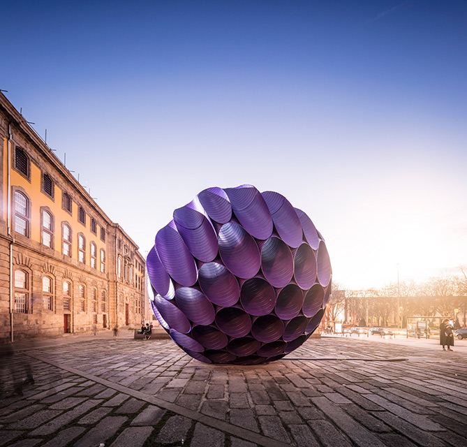'Eclipse' Spherical Installation in Porto's Historic Center by FAHR 021.3