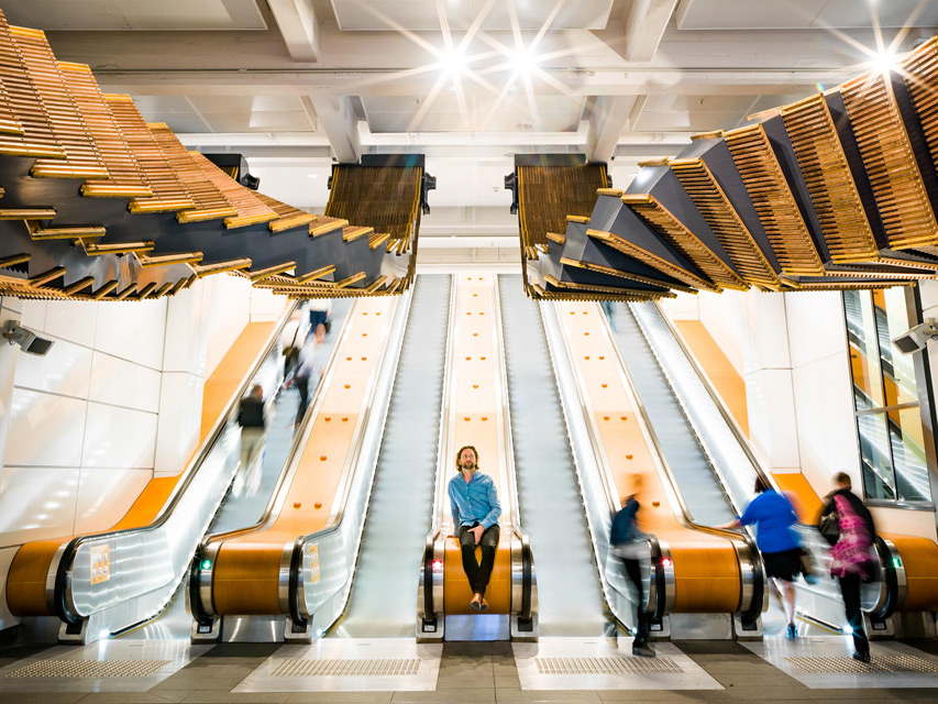 'Interloop' Large-Scale Installation at Sydney's Underground Station by Chris Fox