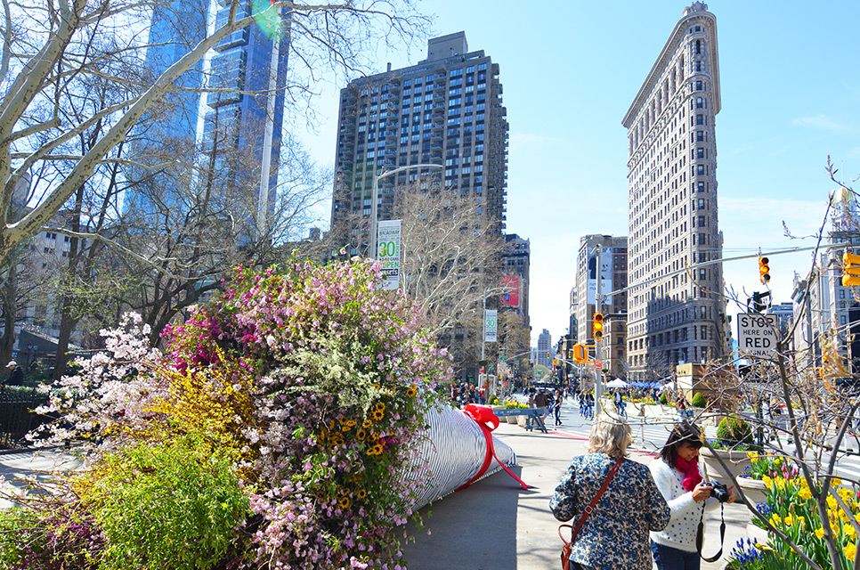 'Broadway Bouquet' Floral Installation in New York City by Terrain Work