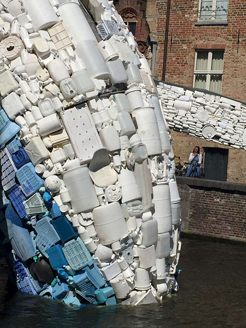 'Skyscraper' Whale Sculpture in Bruges Made of Ocean Plastic Waste by StudioKCA