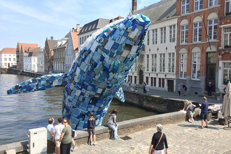 'Skyscraper' Whale Sculpture in Bruges Made of Ocean Plastic Waste by StudioKCA