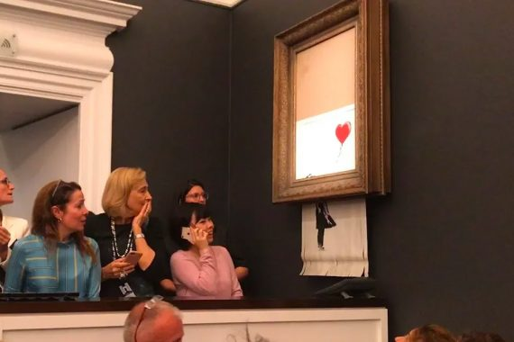 Banksy's 'Girl with Balloon' Self-Destructed after Being Sold at Sotheby's for $1.4 Million