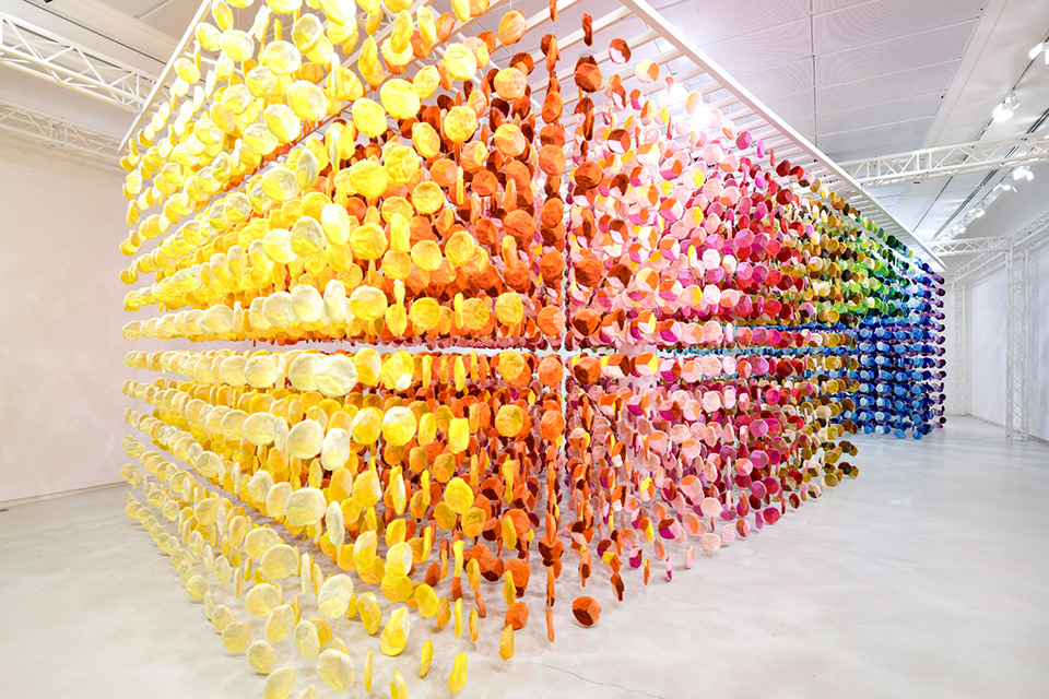 "Emmanuelle Moureaux's ""KNIT IN 100 COLORS"" Installation Made with 100 Colors of Wool Yarns"