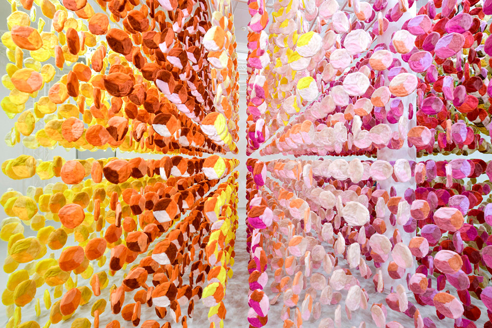 """Emmanuelle Moureaux's """"KNIT IN 100 COLORS"""" Installation Made with 100 Colors of Wool Yarns"""