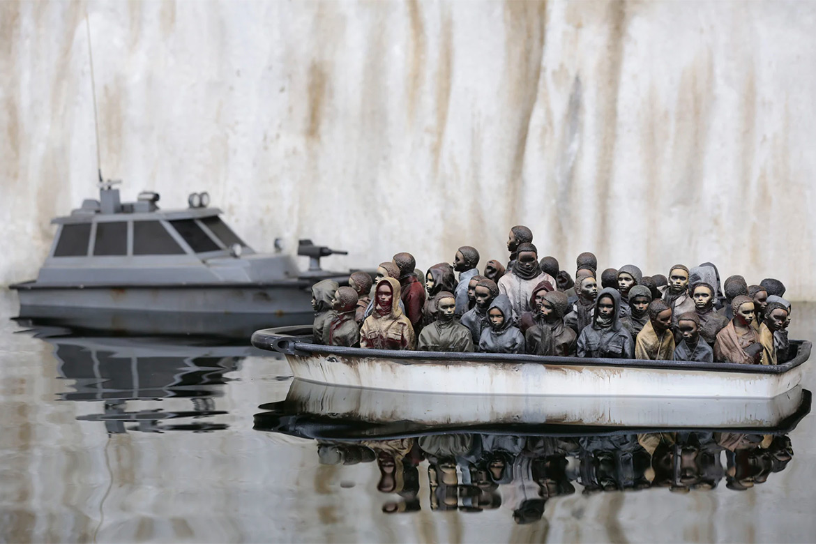 """Banksy is Raffling a Refugee Boat Sculpture from """"Dismaland"""" for Only £2"""