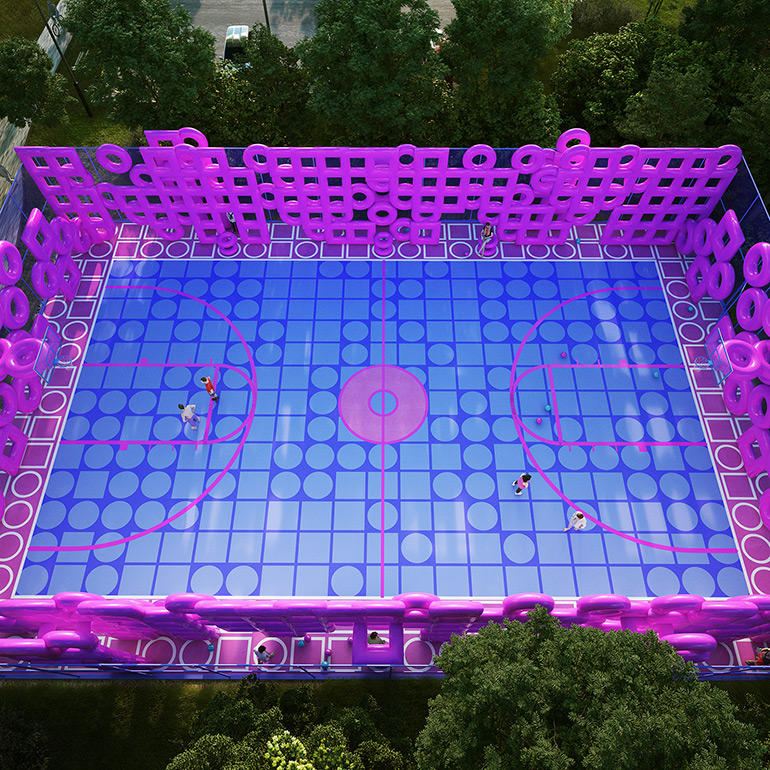 "Cyril Lancelin Turned a Basketball Court into Colorful Art Installation ""Wireframe"""