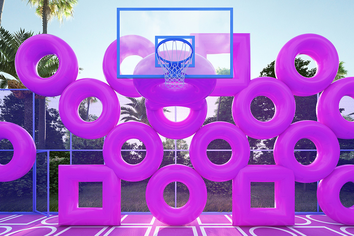 """Cyril Lancelin Turned a Basketball Court into Colorful Art Installation """"Wireframe"""""""
