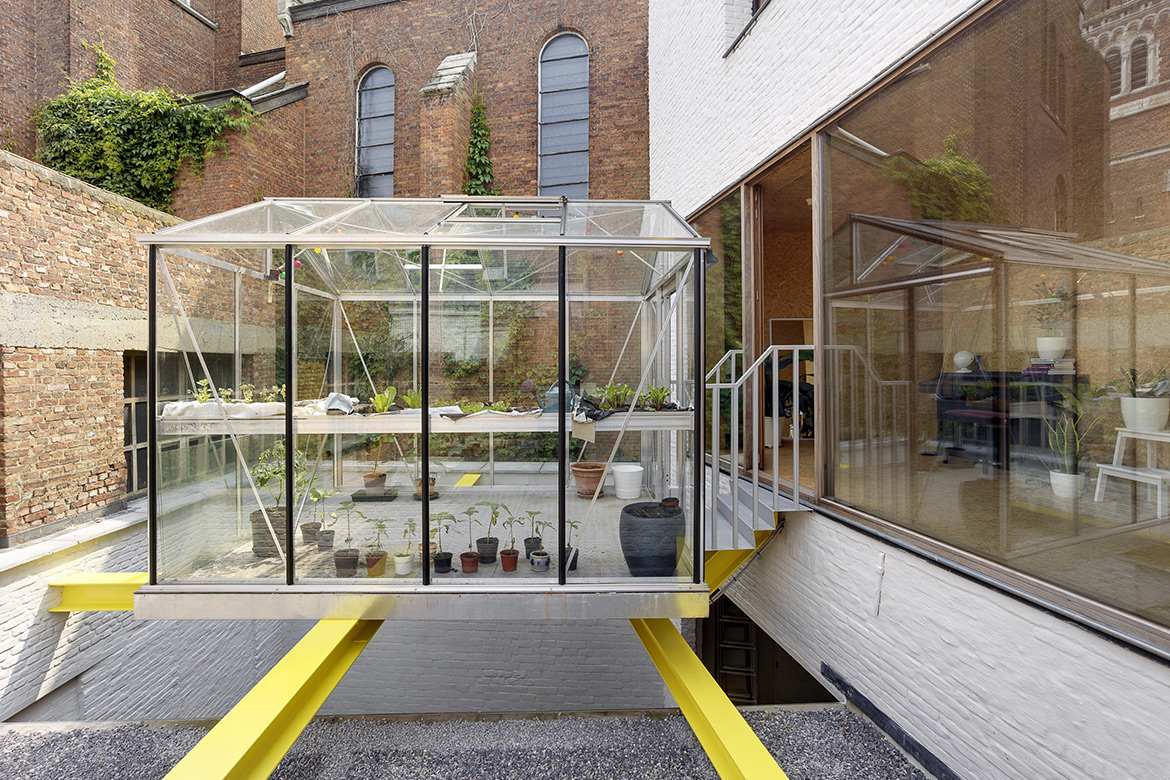 Compact House with Suspended Greenhouse in Belgium by dmvA
