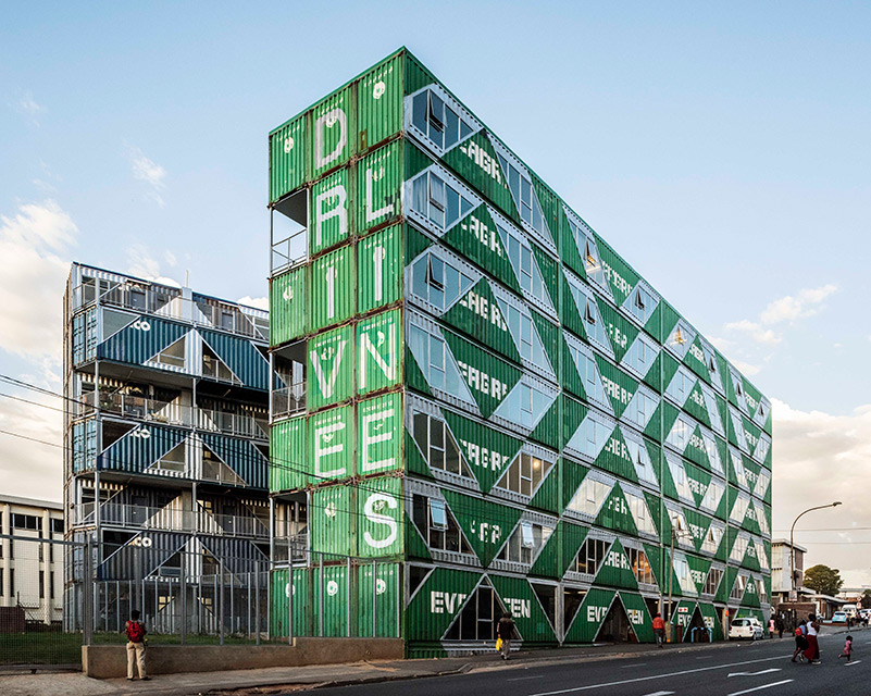 Multi-Storey Residential Building in Johannesburg Made from Shipping Containers by LOT-EK