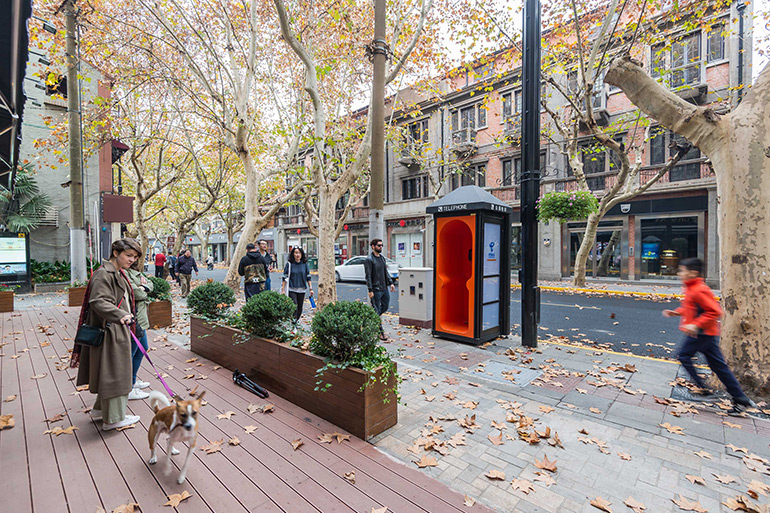 100architects Turned Old Phone Booths in Shanghai Into Public Furniture with Modern Functions