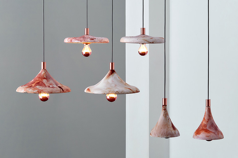 Zhekai Zhang Uses Waste Coffee Grounds to Produce COFFIRE Pendant Light