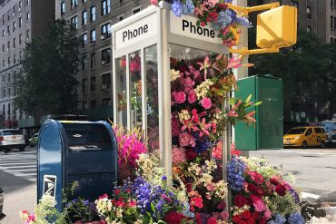Lewis Miller Turned Phone Booth in New York City into Colorful Floral Installation