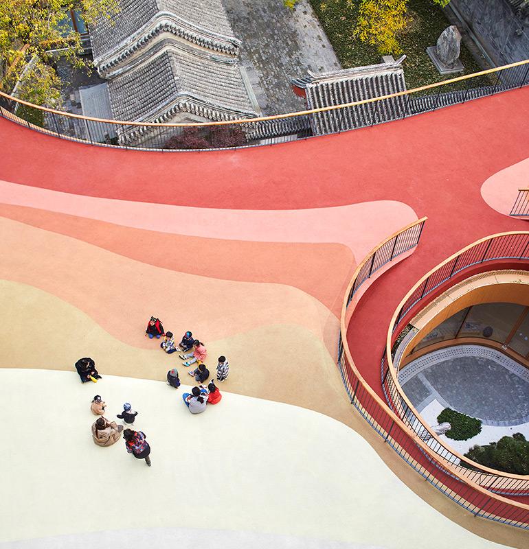 "MAD Architects Designed ""Martian Landscape"" on Roof of Kindergarten in Beijing"
