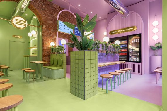 Colorful Burger Restaurant in Milan Designed by Masquespacio